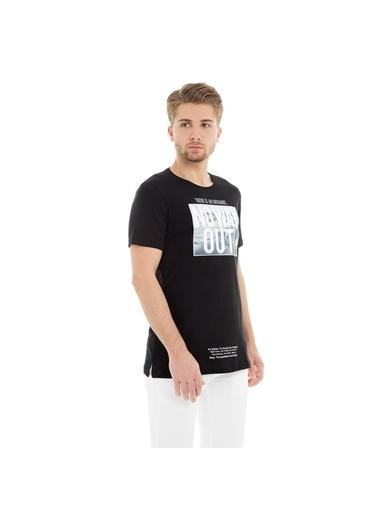 Five Pocket Five Pocket 8083 Bisiklet Yaka Kısa Kol Baskılı T Shirt Siyah